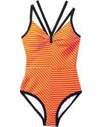 ROKSANDA - Olinda V-Neck Striped Swimsuit - Lyst