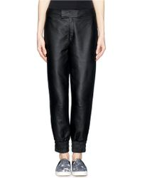 Helmut Lang Lamb Leather Cropped Sweatpants - Lyst
