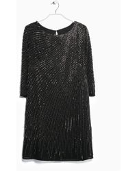 Mango Sequin Beaded Dress - Lyst
