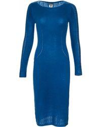Zac Posen   Long Sleeve Pointelle Midi Dress   Lyst