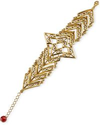Tru. - Gold-tone Matte Antique Chevron Bracelet - Lyst