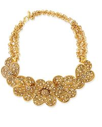 Jose & Maria Barrera Gold-Plated Flower Necklace With Crystals - Lyst