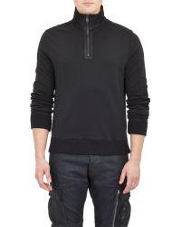 Ralph Lauren Black Label Half-Zip Moto Sweatshirt - Lyst