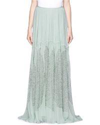 Chloé Drawstring Crinkle Silk Chiffon Maxi Skirt green - Lyst