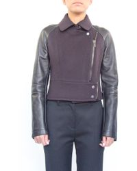 O'2nd | Intercash Patched Leather Jacket Plum | Lyst