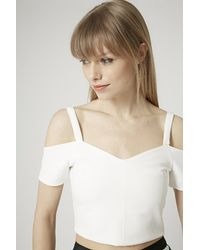 Topshop Tall Bardot Crop Top - Lyst