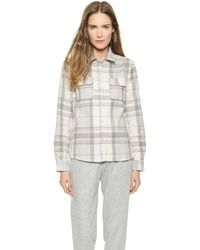 A.P.C. Plaid Button Down Shirt - Gris - Lyst