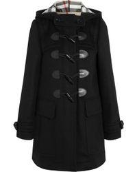 Burberry Brit Leather-trimmed Wool-felt Duffle Coat - Lyst