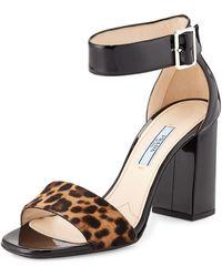 Prada Patent and Cavallino Fur Block Sandal - Lyst
