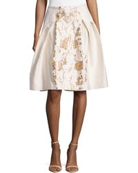Carolina Herrera Baroque Jacquard Flared Skirt - Lyst