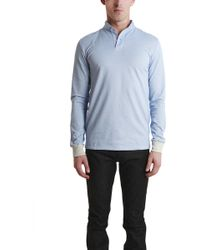 Blue&Cream Long Sleeve Military Polo blue - Lyst