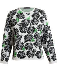 Ostwald Helgason Fine Wool Floral Jacquard Knit Sweater - Lyst