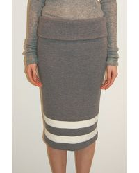 Edun Ribbed Knit Skirt with Stripes Heather Grey - Lyst