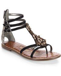 Sam Edelman Giada Beaded Leather & Calf Hair Sandals - Lyst