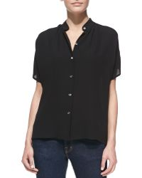 Michael Kors Silk Georgette Short-Sleeve Shirt - Lyst