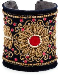 Chamak by Priya Kakkar - Velvet Floral Beaded Cuff Bracelet - Lyst
