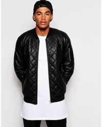 Asos Leather Look Quilted Bomber Jacket - Lyst