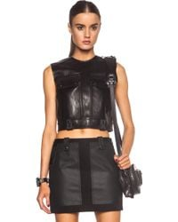 Alexander Wang Leather Cargo Crop Top With Patch Pockets - Lyst
