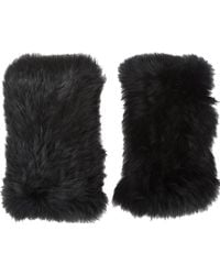 Barneys New York Rabbit Fur Fingerless Gloves - Lyst