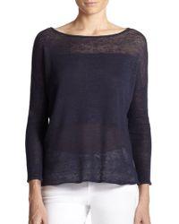Alice + Olivia Kerr Combo-knit Linen Top - Lyst
