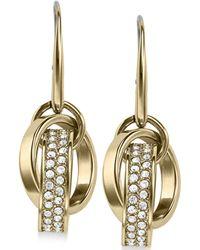 Michael Kors Clear Pavé Link Charm Fishwire Earrings - Lyst