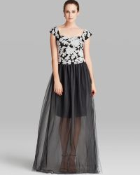 Vera Wang Dress Cap Sleeve Embroidered Bodice Chiffon Overlay Skirt - Lyst