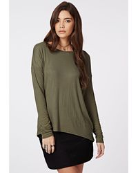 Missguided Simi Long Sleeve Ribbed Jersey Top Khaki - Lyst