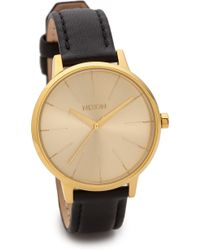 Nixon Kensington Leather Watch  Blackgold - Lyst