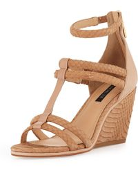 Rachel Zoe Nancy Snakeskin Wedge Sandal Natural - Lyst