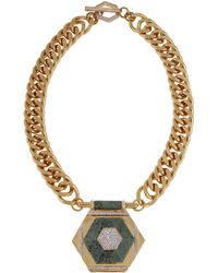 Rachel Zoe - Naodelite And 12K Gold Plated Geometric Pendant Necklace - Lyst
