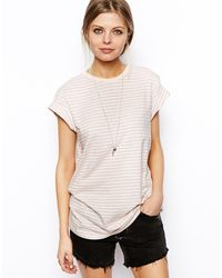 Asos Boyfriend Tshirt with Roll Sleeve in Stripe - Lyst