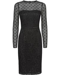 Reiss Diana Polka Dot and Lace Dress - Lyst