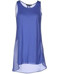 Guess Sleeveless Sheer & Jersey Top - Lyst