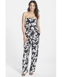 Marc New York - By Andrew Marc Print Strapless Blouson Jumpsuit - Lyst