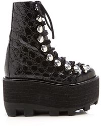 Alexander Wang Sam High-Shine Croc Embossed Leather Boot - Lyst