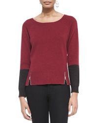 Eileen Fisher Soft Colorblock Top W Zipper Hem - Lyst