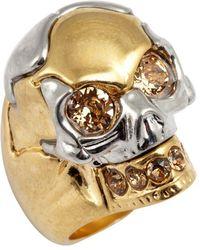 Alexander McQueen Gold And Swarovski Crystal Skull Detail Ring - Lyst