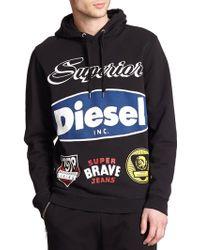 Diesel Printed Cotton Hooded Sweatshirt black - Lyst