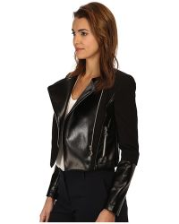 Versace Jeans Leather And Fleece Jacket - Lyst