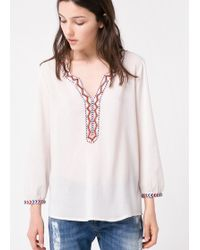 Mango Bead Embroidered Blouse - Lyst