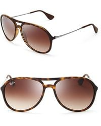 Ray-Ban Double Bar Aviator Sunglasses - Lyst