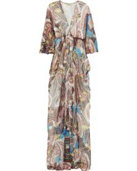 Issa Printed Silk-chiffon and Lurex Gown - Lyst