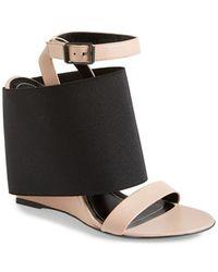 Balenciaga 'Prism' Elastic Wrapped Lambskin Wedge Sandal black - Lyst
