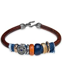 Platadepalo - Classic Denim Leather Bracelet With Resin - Lyst