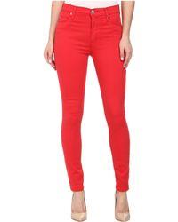 Hudson Barbara High Waist Super Skinny Ankle Jeans In Larkspur Red - Lyst