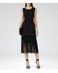 Reiss Caprio Embellished Fringe Dress - Lyst