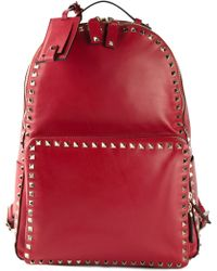 Valentino Red 'Rockstud' Backpack - Lyst
