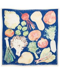 Cjw - Scarves 'produce' Hand Drawn Wool Square Scarf - Lyst