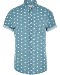 River Island Teal Star Print Short Sleeve Shirt - Lyst