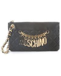Moschino Black Quilted Leather Wristlet - Lyst